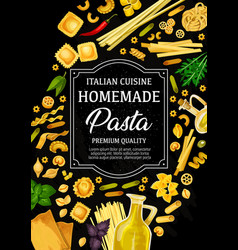 Pasta of italy menu pastry food vector