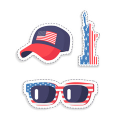 Patriotic stickers with american flag colors set vector