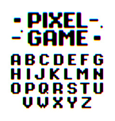 Pixel game retro style pixel font with distortion vector