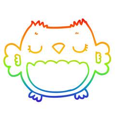 Rainbow gradient line drawing cute cartoon owl vector