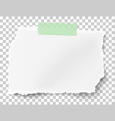 Rectangular ragged paper scrap on transparent vector