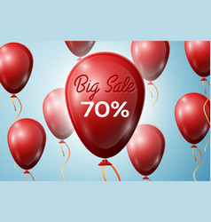 red balloons with an inscription big sale 70 vector image