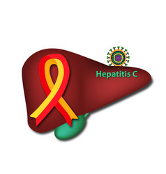 Red yellow ribbon the liver c world hepatitis day vector