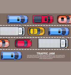 Road full cars and trucks top angle view vector