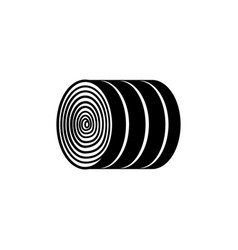 Round hay bale - black and white dry agricultural vector