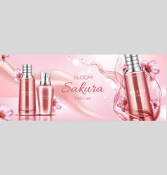 sakura cosmetics bottles mockup banner face care vector image