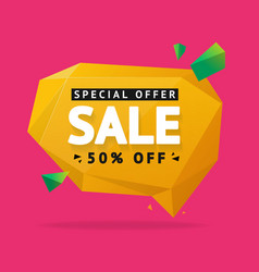 sale concept label flyer card origami style bubble vector image