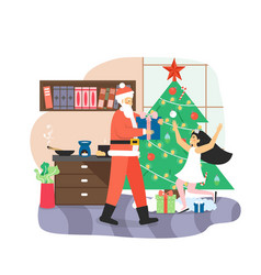santa claus giving gift box to happy girl kid vector image