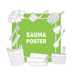 Sauna poster banner with hand drawn bath vector