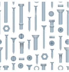 seamless pattern with steel bolts and screws vector image