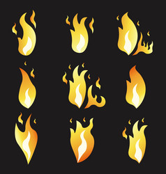 set animation fire and variou vector image
