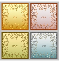 Set of 4 metal frames for text input vector image