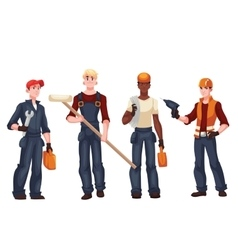 Set of full length workers - electrician mechanic vector image