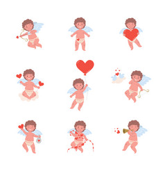 set with funny cupid in different poses vector image