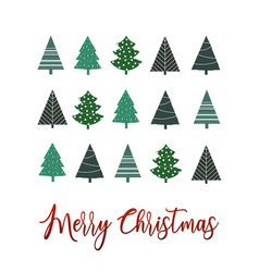 simple christmas tree greeting background vector image