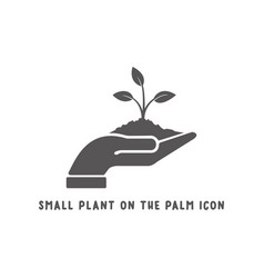 small plant on palm hand icon simple flat vector image