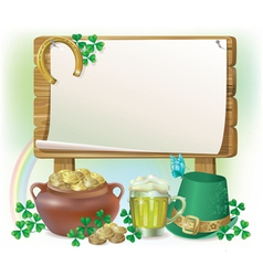 St Patricks Day wooden board vector image