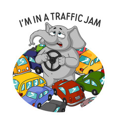 standing in a traffic jam steering wheel in hands vector image