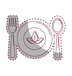 sticker spoon fork and plate with leaves vector image