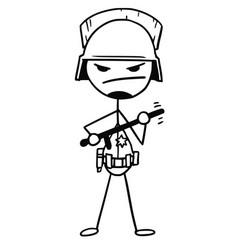 Stickman cartoon of policeman with heavy helmet vector