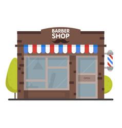 street building facade barbershop front shop for vector image