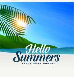 Summer beach scene with sun light and leaves vector
