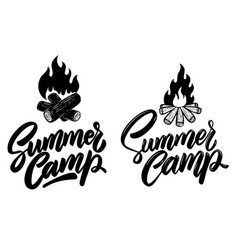 Summer camp lettering phrase with campfire vector