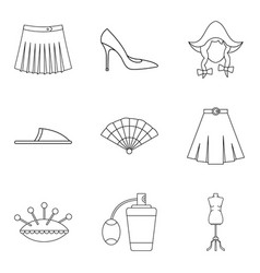 Trading house icons set outline style vector