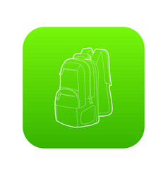 Travel backpack icon green vector