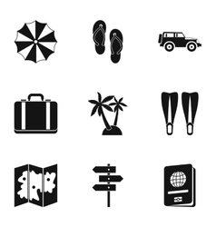 Travel to sea icons set simple style vector