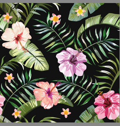 Tropical flowers composition black background vector