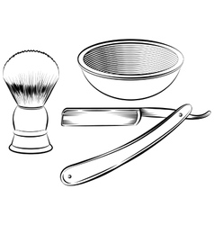 Vintage barber shaving set vector image
