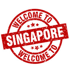 Welcome to singapore red stamp vector