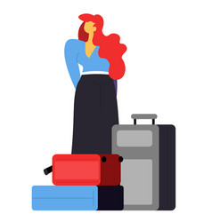woman with bags waiting in airport passenger vector image