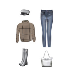 women set sweater pants hat bag and boots vector image