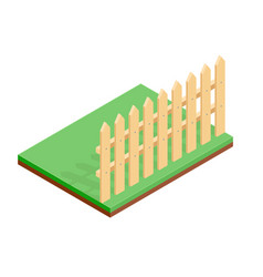 wooden fence on green ground isometric drawing vector image