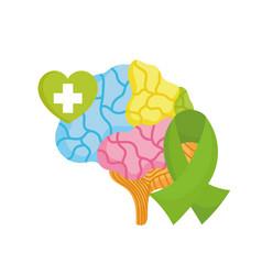 world mental health day brain green ribbon heart vector image