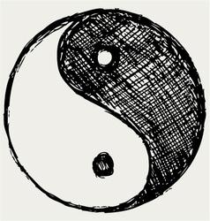 ying yang sketch symbol vector image