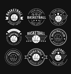 Basketball set vintage emblems vector image