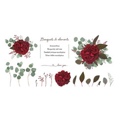 floral bouquet design with garden red burgundy vector image vector image