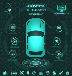 scanning car analysis and diagnostics vehicle vector image vector image