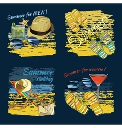 set background summer with lettering texts vector image