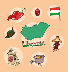 set of national profile of hungary vector image vector image