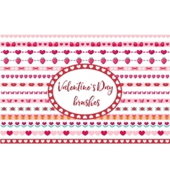 Valentines Day borders set Cute heart flowers vector image vector image