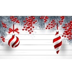 Christmas background with fir branches and red vector image vector image