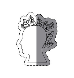 Contour human with leaves icon vector