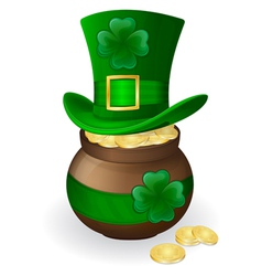 for st patricks day green hat with shamrock and po vector image vector image