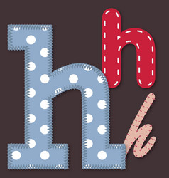 Set of stitched font - Letter H vector image