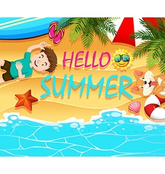 Summer theme with boy and dog on the beach vector image