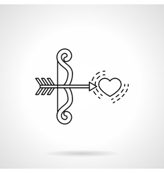 Cupids bow and heart black flat line icon vector image